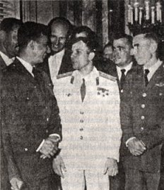 The First World Astronaut Yuri Gagarin with Cuban Pilots Prendes, del Pino and Carreras