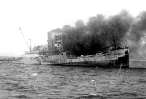 The USS Houston after having suffered the Rage of the Furies.